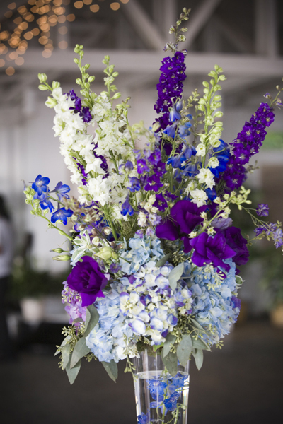 The centerpieces were a mixture of hydrangea lisianthus delphinium and