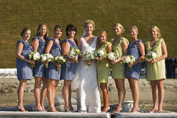 Lela Rose Bridesmaid Dresses in green and blue